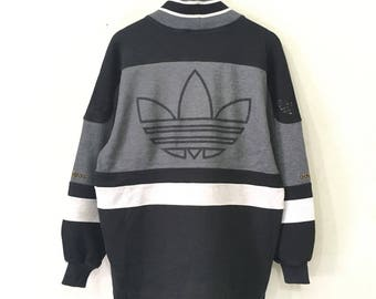 RARE!!! Vintage 90s Adidas Sweatshirt Big Logo Embroidery Spellout Multi Colour