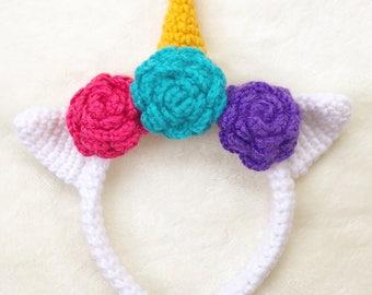 Unicorn Headband, Unicorn Crochet Headband