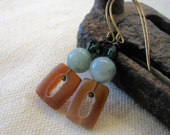 pale green and amber horn dangle earrings