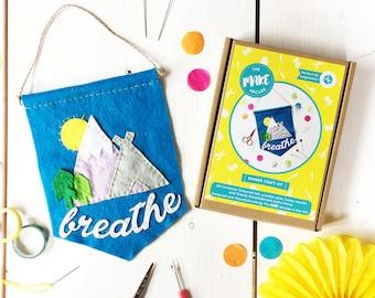 DIY Banner kit, banner, motivational banner, mindfulness, sewing kit, sewing, craft kit, craft, breathe, pennant, home decor, craft project
