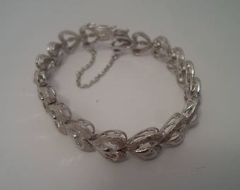 Vintage Mid Century Silver Bracelet Much Detailed Sclupered hearts