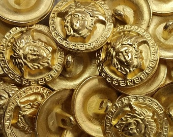 Vintage Versace Medusa Head Button with Square Scroll around the perimeter in Matte Gold sold individually
