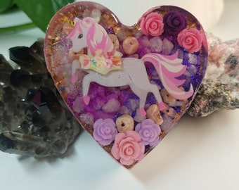 ONLY 1!! Unicorn Heart Shaped Orgone Energy Charging Plate for Compassion, Manifesting Love, Self-Acceptance, and Forgivness