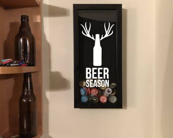 """Beer Season with Beer Bottle Antlers - Wall Hanging Bottle Cap Holder -Black Shadow Box (6"""" x 14"""") - Vinyl Decal Gifts, Home Bar Accessories"""