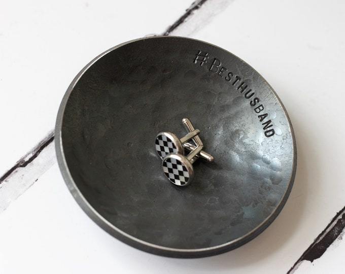 11th Anniversary Gift for him Steel anniversary gift wedding ring dish for him wedding gift ring dish gift for husband ring dish for him