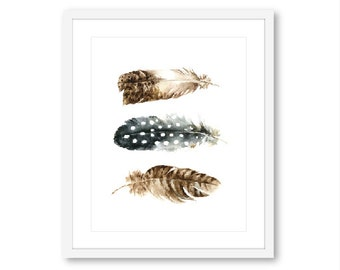 Feathers Print - Feather Wall Art - Boho decor - Modern Feather Art -  Watercolor feather Print - 8x10 - frame not included - Aldari Art