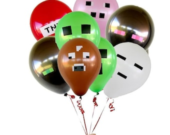 """21 or 28 Minecraft Inspired 12"""" Latex Balloons - Perfect for your next Minecraft Birthday Party!"""