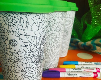 Paint your own travel mug with 5 paint pens