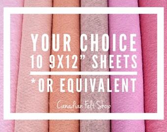 10 Wool Felt Sheets, Wool Blend Felt, Choose Your Own Colours, Wool Fabric, Nonwoven Fabric, Merino Wool, 9x12 Sheets, 12x18 Sheets