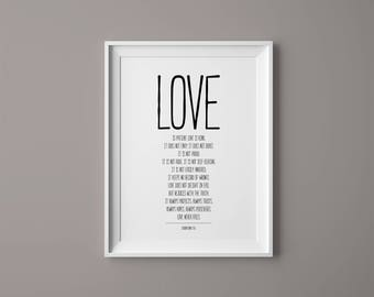 Love Is Patient Love Is Kind, Love Is Patient Print, Love Is Kind Print, 1 Corinthians 13, Love Is Patient Wall Art, Bible Verse Print, Love