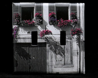 Double Switchplate Cover - Flowers & Shutters in Beaune