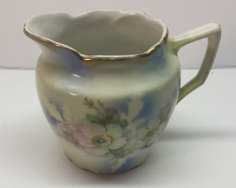 Cream Pitcher from BT Company 22 Apple Blossoms Blue Gold Trim