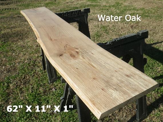 Live edge foyer table top finished water oak wood slab diy for Finished wood slabs
