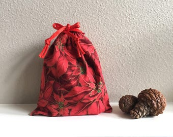 Gift Bag for Christmas, Poinsettia, Red Christmas Bag, Jewelry Gift Bag, Zero Waste, Special Gifts, Recycled, 6.5 x 7.5, Christmas Decor