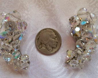 """Aurora Borealis AB Crystals Oversize 1 5/8""""L 1960s Clip-On Earrings for Wedding or Other"""