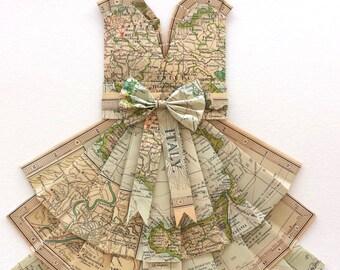 "ITALY Blue Green Map Dress - CUSTOM Hand-Folded Map Dress - 18"" x 24"" - Choose your Style! - Nursery Wall Decor Art"