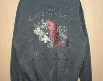 Rare!! Vintage Sukajan Koi Fish Print Spellout Pullover Jumper Sweatshirt