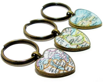 Personalized vintage map keychain you select location custom heart vintage map keychain you select location anywhere in the world one gumiabroncs Gallery