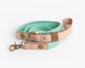 Natural Leather Leash with Mint Green Hemp Cotton