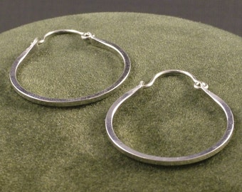 Silver Handmade Hoops - Argentium Hoop Earrings - Classic Minimalist Everyday Wear - Ladies Gift - MetalRocks - SS Sleeper Hoops