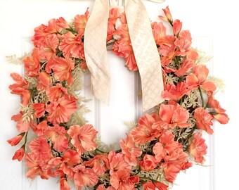 Coral Gladiolus Wreath   Front Door Wreath   Spring Wreath   Summer Wreath   Beachy Decor   Tropical Decor