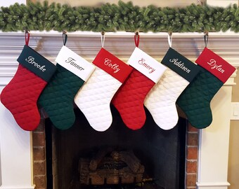 Personalized Christmas Stocking. Quilted Christmas Stocking with Ivory, Deep Red, Forest Hunter Green. Family Christmas Stockings. 7 Styles