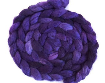 Blurple, BFL/Silk Roving - Handpainted Spinning or Felting Fiber
