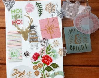 Xmas Planner, Journal Vellum + Papers Ephemera ~ Winter, Flowers,Deer die cuts, Planner,Junk Journal,Scrapbooking,Card making embelishments