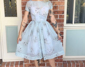 1950s Handmade Sheer Blue Floral Fit and Flare Day Dress