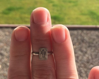 Cactus stamped sterling silver ring