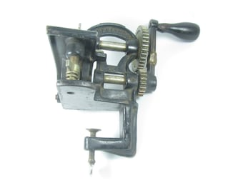ANTIQUE PINKING MACHINE,defiance button machine,cast iron tool, sewing machine,zigzag,clamp,crafting,black,metal tool,