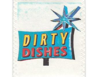 Lave vaisselle propre sale Mini Flip aimant rétro publicitaire enseigne turquoise jaune rouge