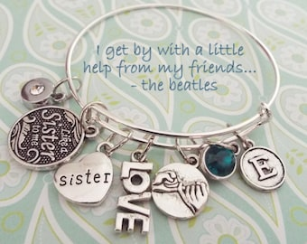 Like a Sister To Me Charm Bracelet, Gift for Best Friend, BFF Jewelry Gift, Best Friend Charm Bracelet, Custom Jewelry, Gift for Girlfriend