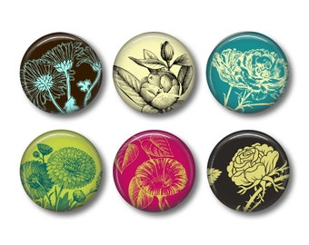 Fridge magnets or pinback button badges Flowers, fridge magnet set
