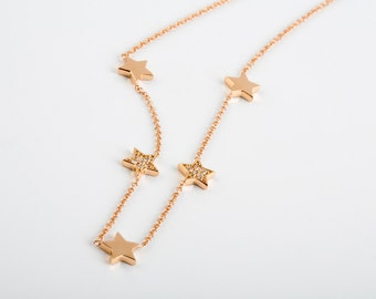 18k Stars Necklace, Diamond Necklace, Solid Gold Stars, Stars Charm Necklace, Dainty Necklace, Star Pendant, Bridal Necklace, Gold Layering