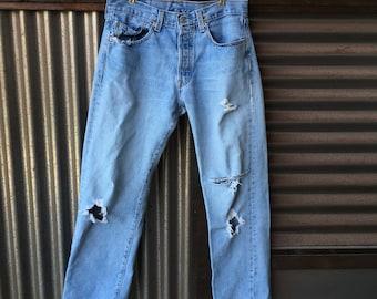 "Vintage Distressed Levis Jeans Light Wash 31"" Waist"