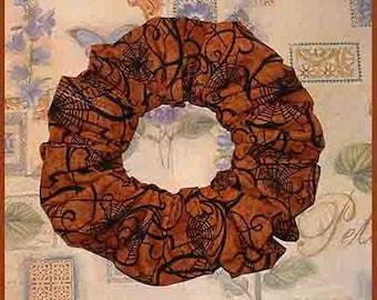 Halloween Hair Scrunchie, Holiday Fabric Hair Tie, Ponytail Holder , Cobwebs