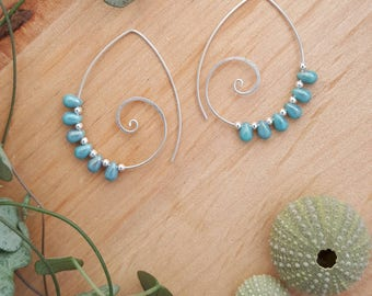 Spiral Earrings // Turquoise Earrings // Statement Earrings // Spiral Hoop Earrings // Sterling Silver // Big Earrings // Statement Jewelry
