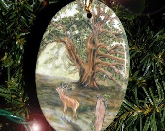 Oak and Stag Celtic Tree Ogham Voice of the Trees Holiday Ornament