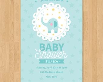 Elephant Baby Shower Invitation, Beatiful Baby Shower Invitation OFFER!