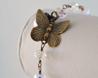 Crystal Bracelet Swarovski Crystal Clear AB Wire Wrapped Pearl Antiqued Brass Butterfly Jewelry