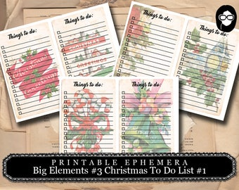 Digital Journal Card -Big Elements #3 Christmas To Do List - 3 Pg Instant Download - clipart christmas, clip art christmas, art journal card