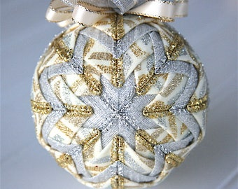 Quilted Christmas Ornament Ball/Gold, Cream and Silver - Treasure the Moment