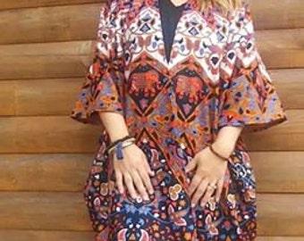 ELEPHANT MANDALA KIMONO, Women's Boho Cardigan, Boho Kimono,  Robe,  Festival Top,  Fall Layering Piece, One Size