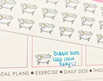 30 Bubble Bath Stickers! Perfect for your Erin Condren Life Planner, Filofax, Kikkik, Plum Paper and other planner/agenda, or scrapbooking!