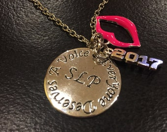 SLP necklace customizable graduation present