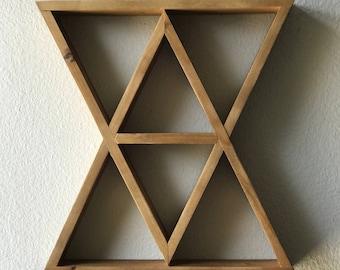 FLASH SALE: Hourglass Geometric Wood Shelf Crystal Display