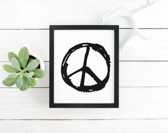 Peace print, poster, Peace printable Poster, Instant download Poster, black and white, printable art, wall art