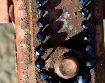 1950 Black Beaded Choker, Vintage Black Necklace, Faceted Bead Necklace, 1950s Black Choker Necklace, Sweater Necklace, Rockabilly Jewelry,