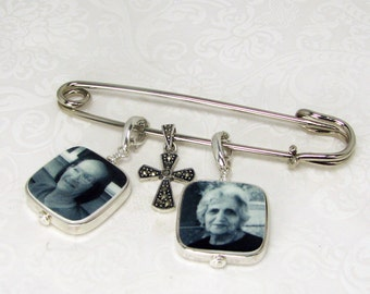 Two Sterling Framed Photo Charms on a Boutonniere / Corsage Pin - FBPP3RFlx2a